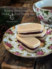 Buttery Shortbread Tea Cookie with Sour Cherry Jam (raw, gluten-free)
