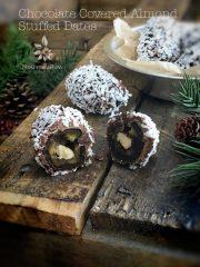 Chocolate Covered Almond Stuffed Dates (raw, vegan, gluten-free)
