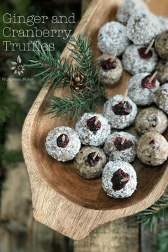 Ginger-and-Cranberry-Truffles served in a wooden tray