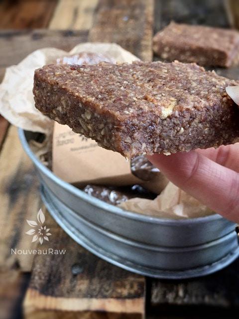 close up of raw vegan gluten-free Banana Apple Granola Bars