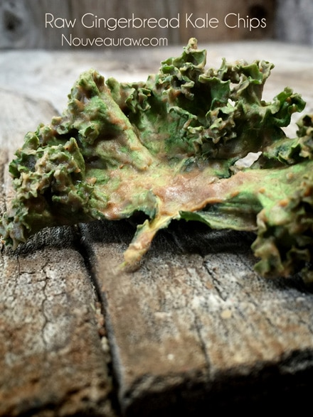 a close up raw vegan Gingerbread Kale Chips