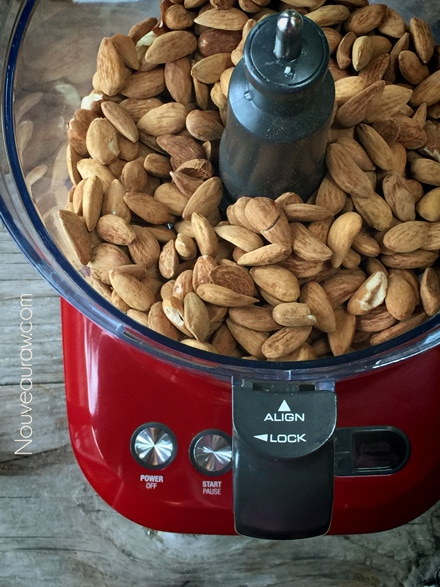 almonds in the food processor to make almond butter