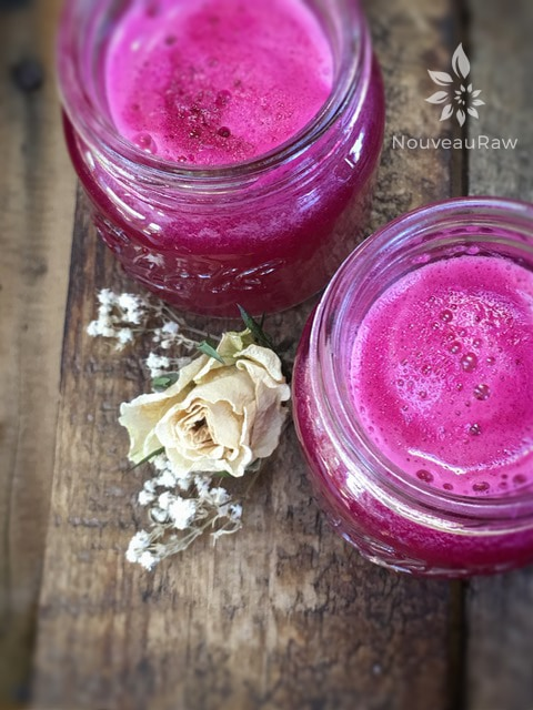 vibrant and nutrient packed Sweet and Spicy Detox Juice served in shot glasses