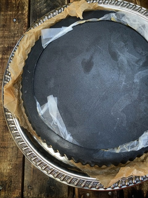 After it is frozen, turn the cake upside down on a serving platter and remove the outer ring and base.