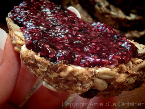 Raw Gluten-Free Seed Of Life Bread Blueberry Mint Chia Jam
