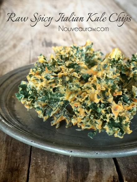 Raw, vegan, gluten free Spicy Italian Kale Chips