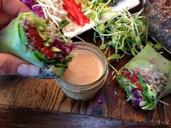 Sesame Crusted Avocado Spring Rolls with Almond Dipping Sauce (raw, gluten-free)