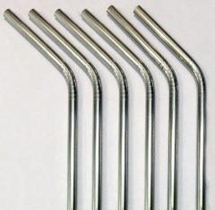 Reusable Straws – Stainless Steel Drinking – Set of 6 + 2 Cleaners – Eco Friendly, SAFE, NON-TOXIC non-plastic