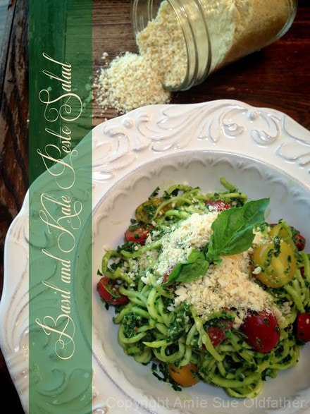 Raw, vegan, gluten free Basil and Kale Pesto Salad