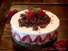 Strawberry Rhubarb Cream Cake  (raw, vegan, gluten-free)