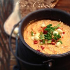 Raw, Gluten Free, Vegan Sun-dried tomato and corn chowder