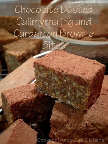 Raw Chocolate Dusted Calimyrna Fig and Cardamom Brownie Bite Recipe