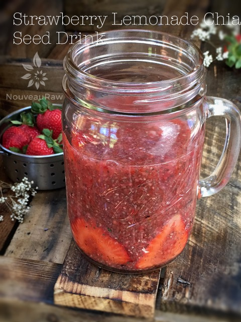 raw, vegan, gluten-free, nut-free, Paleo recipe for Strawberry Lemonade Chia Seed Drink