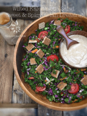 Wilted Kale Veggie Salad with Sweet and Spicy Asian Dressing (raw, vegan, gluten-free)