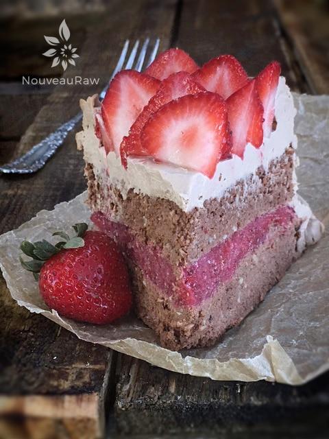 A delicious & Blissful Slice of Raw Hazelnut Cardamom and Strawberry Layered Cake