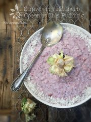 Strawberry Rhubarb Coconut Chia Pudding (raw, vegan, gluten-free)