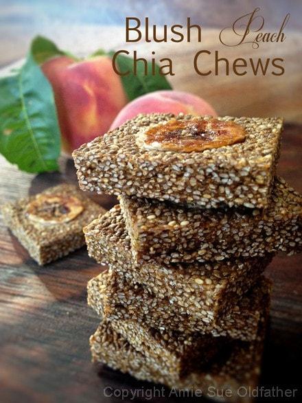 Raw, vegan, gluten-free, nut-free Blush Peach Chia Chews