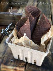 Chocolate Waffle Cones and Bowls (raw, vegan, gluten-free)