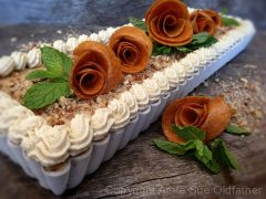 Pecan Peach and Caramel Ginger Ice Cream Tart (raw, gluten-free)