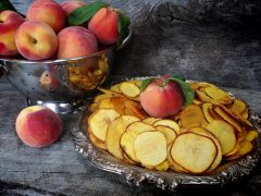 Peach Chips and Details on Dehydrating Peaches (raw, vegan, gluten-free, nut-free)