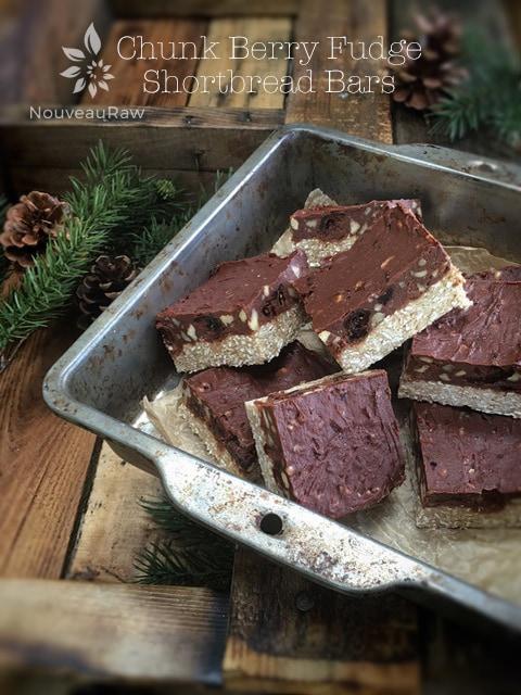 raw vegan gluten-free Chunk Berry Fudge Shortbread Bars displayed in a pan