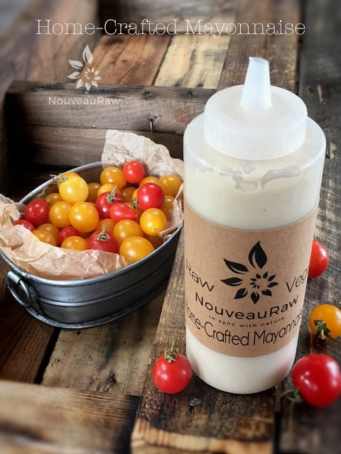 raw, gluten free, dairy free, and vegan Mayonnaise presented in a squeeze bottle
