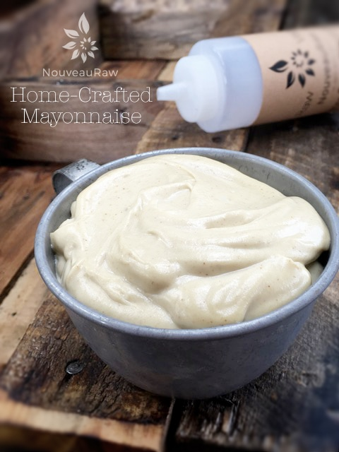 a tin cup filled with Home-Crafted Mayonnaise