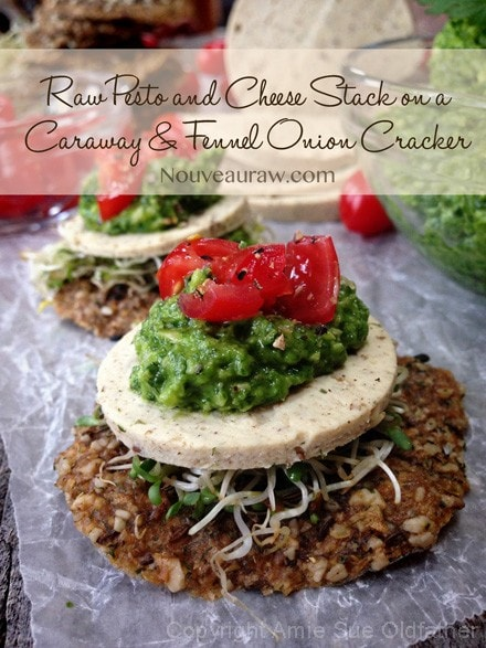 Raw-Pesto-and-Cheese-Stack-on-a-Caraway-and-Fennel-Onion-CrackerFB1