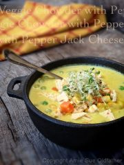 Veggie Chowder with Pepper Jack Cheese (raw, vegan, gluten-free)