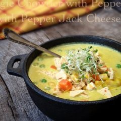 Raw, Gluten Free, and Vegan Chowder with Pepper Jack Cheese