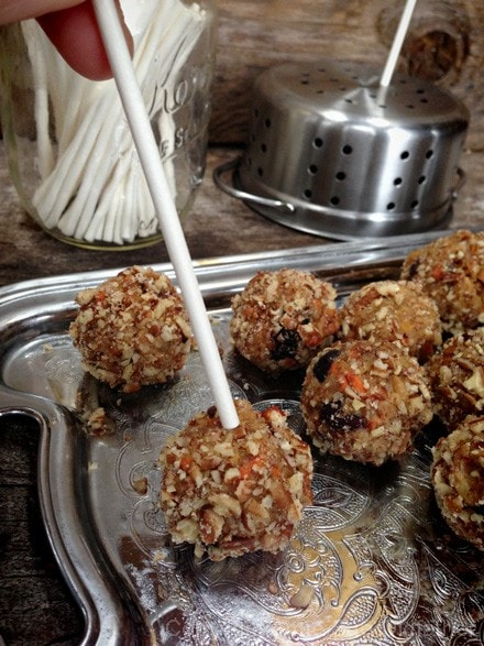 Raw, Gluten-Free Buttery Walnut Carrot Cake Pops, healthy and fun