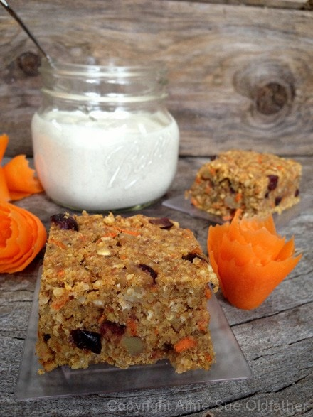 Delicious home-style Buttery Walnut Carrot Cake Bars, single serving size