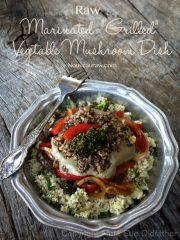 """Mushroom Gravy over Marinated Veggies and """"Riced"""" Cauliflower"""