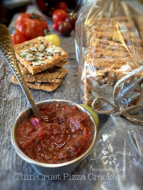 raw vegan gluten free Thin Crust Pizza Crackers served with salsa