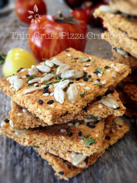 a stack of vegan gluten free Thin Crust Pizza Crackers