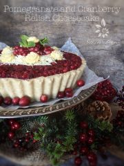 Pomegranate and Cranberry Relish Cheesecake  (raw, vegan, gluten-free)