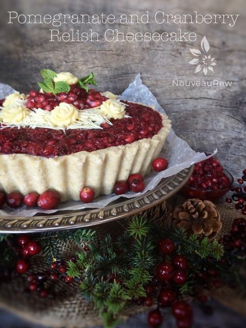 Raw vegan pomegranate and cranberry cheesecake