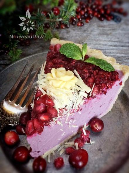Raw-Pomegranate-and-Cranberry-Relish-Cheesecake-single-slice