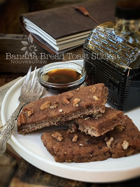 Raw Gluten-Free Banana Bread Toast Sticks with maple syrup