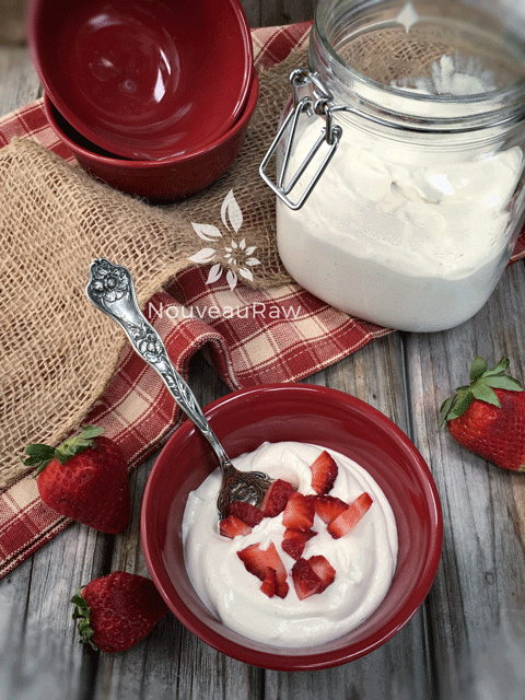 Great way start the day with Greek Nogurt & fresh strawberries in a beautiful red bowl