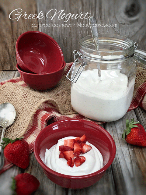 Healthy and Creamy Raw Gluten-Free Greek Nogurt with fresh strawberries