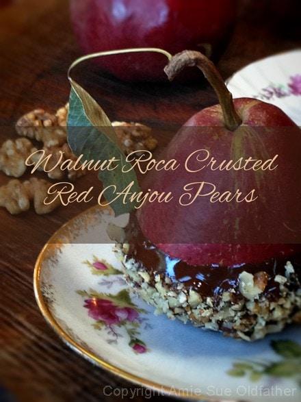Raw, vegan, gluten free roca crusted pears