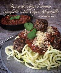 Nomato Spaghetti with Vegan Meatballs (raw, vegan, gluten-free, nut-free)
