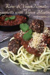 Nomato Spaghetti with Vegan Meatballs (raw, vegan, gluten-free, nut-free)