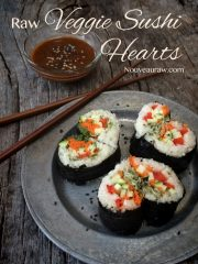 Veggie Sushi Hearts and Almond Dipping Sauce (raw, vegan, gluten-free)
