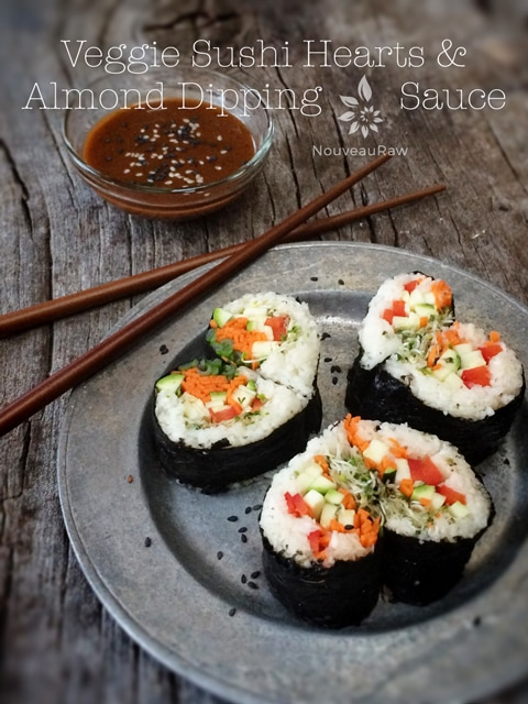 Raw, vegan, and gluten-free sushi hearts