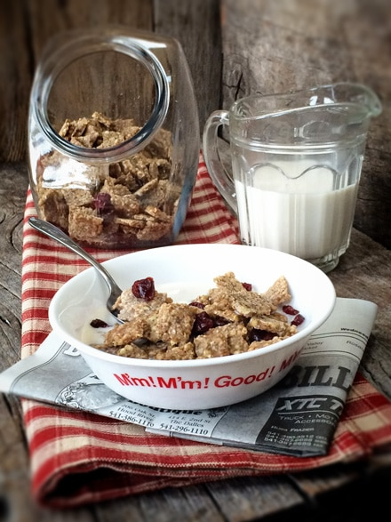 Amazing Breakfast Raw Almond Butter Cereal Crunch with nut milk