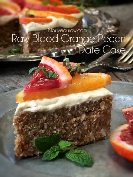 Raw Blood Orange Pecan Date Cake