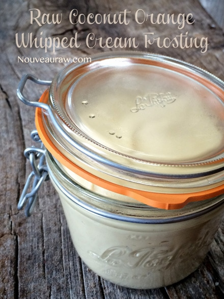 Raw, Vegan Coconut Orange Whipped Cream Frosting stored in an airtight jar