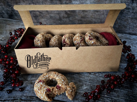 Raw Gluten-Free Cranberry Pumpkin Spiced Donuts in box, great gift oldfather farms
